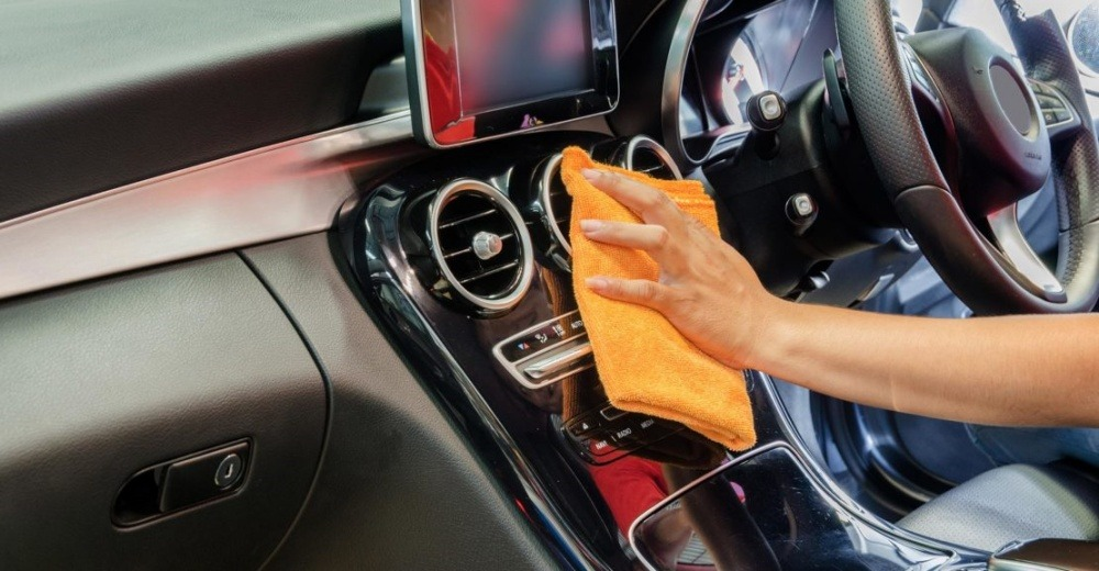 Wiping the car interior surface
